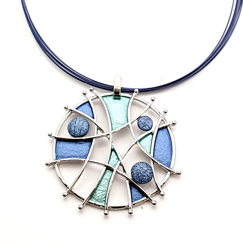 Blue Silver Abstract Necklace