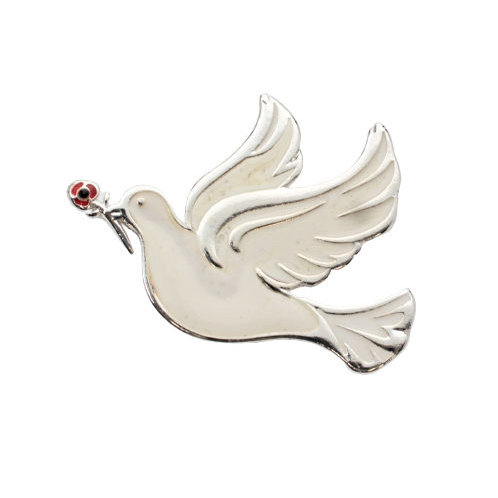 Dove and Poppy Brooch
