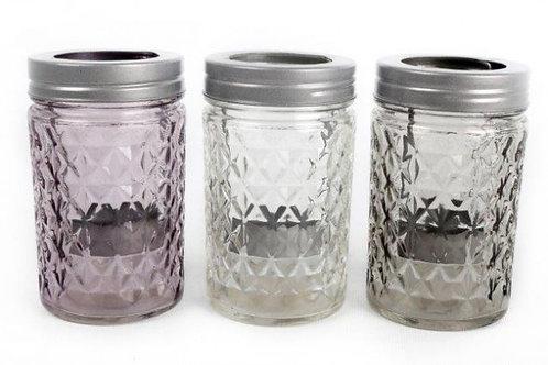 Candle Holder Glass Embossed Jar Screw Lid 1 Tlite Clear Grey Lilac 3 Asst