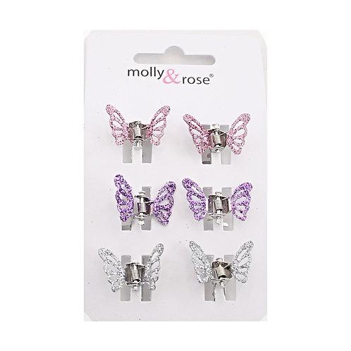 6 Metal Glitter Butterfly Clips