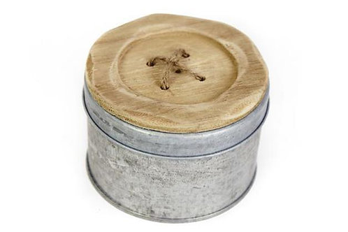 Wooden Button Top Tin