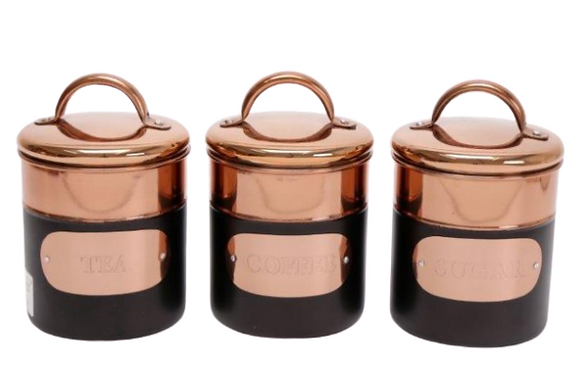 Black and copper Storage Jar