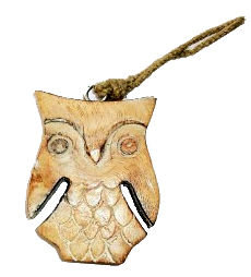 Hanging Wooden Owl Decoration