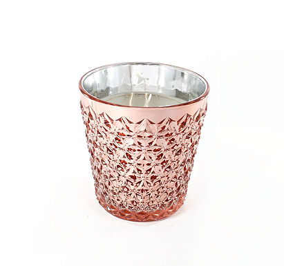 Candle in Rose Glass Pot