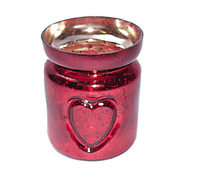 Candle Holder Glass Cup Red Metallic Heart T-Lite