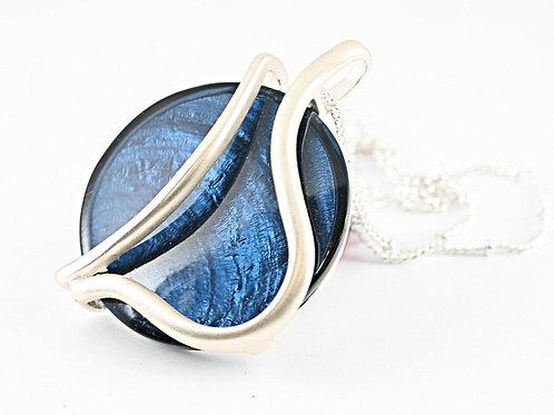 Dark Blue Disk Necklace