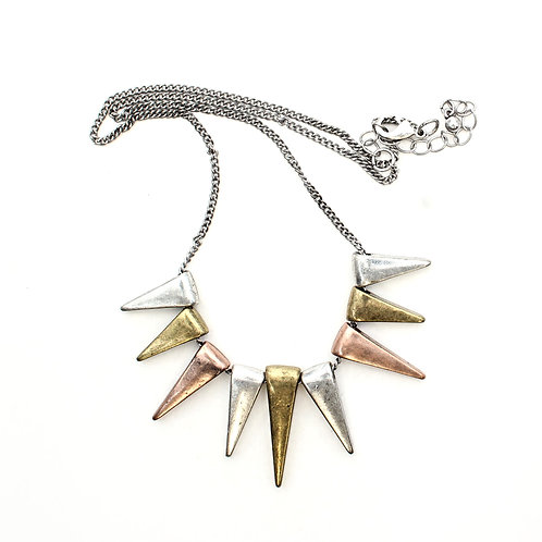 3 Colour Metal Triangles Necklace