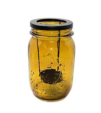 Candle Holder Glass Amber Jam Jar Embossed