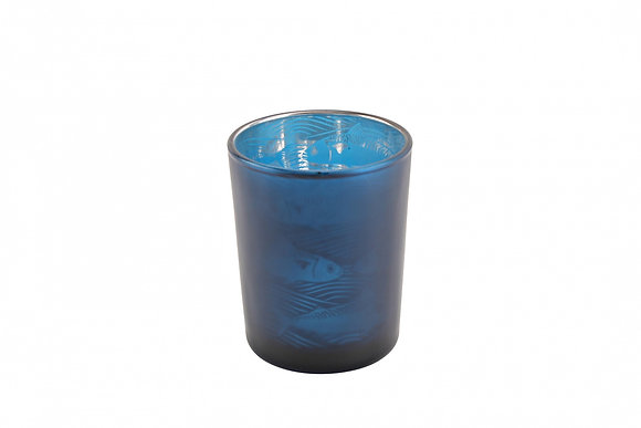 Candle Holder Glass Pot Fish Design Small Harbour Blue