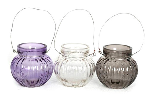 Candle Holder Glass Pot Round Ribbed Purple Clear Grey Hanging