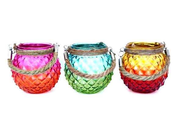 Candle Holder Glass Pineapple Pot Two Tone Hanging Rope 3 Asst Bright