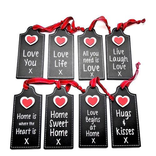 Black Wood Heart Tag