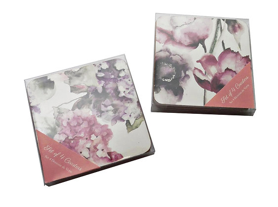Set of 4 Purple Floral Coasters