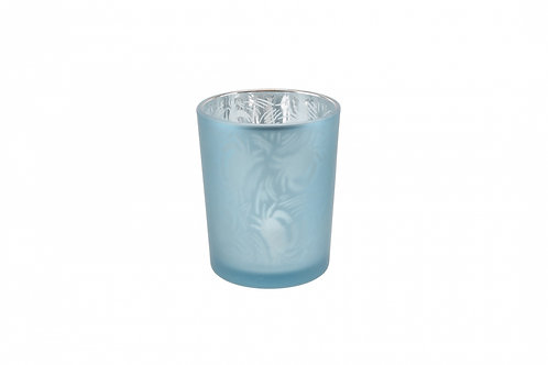 Candle Holder Glass Pot Crab Design Blue Small