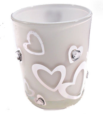 Candle Holder Glass Pot Silver Hearts White
