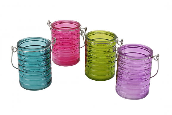 Candle Holder Glass Pot Hanging Ribbed Bright Blue Green Pink Purple