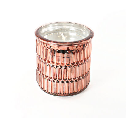 Candle In Rose Gold Embossed Pot