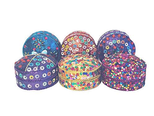 Round Glitter Sequin Tin Box