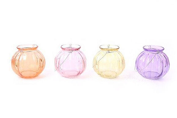 Candle Holder Glass Round Ribbed Hanging 4 Asst Pastel Colours