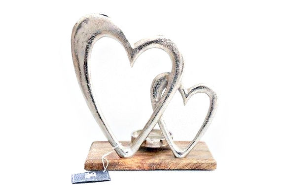 Candle Holder 2 Silver Metal Hearts On Wood Base
