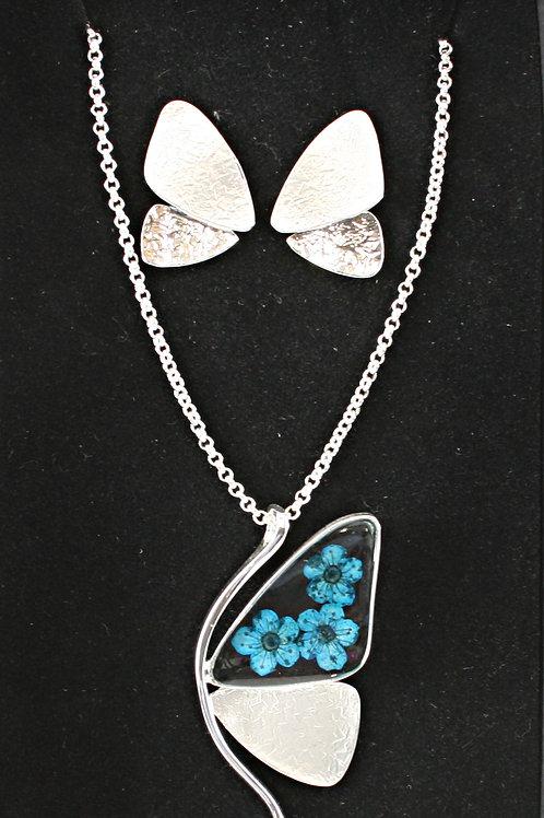 Butterfly Necklace & Earrings Set