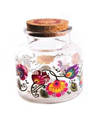 Bright Floral Glass Jar