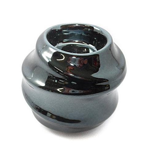 Candle Holder Ceramic Swirl Black 1 Tlite