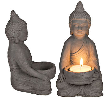 Candle Holder Buddha Cement Sitting