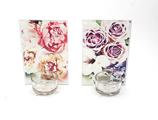 Candle Holder Tlite High Back Glass Floral Bloom Pink or Purple