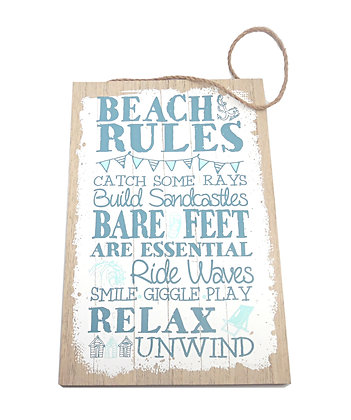Wooden Beach Rules Plaque