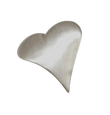 Brushed Silver Heart Brooch
