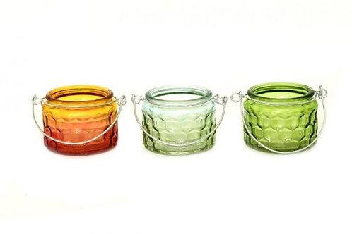 Candle Holder Glass Pot Orange Light Dark Green 3 Asst