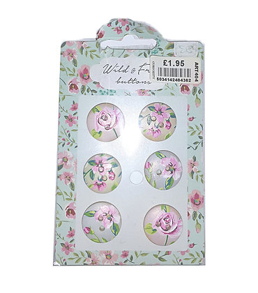 Pack of 6 Floral Buttons