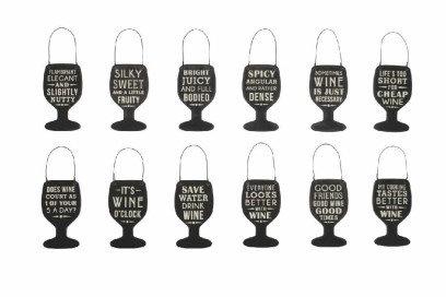 Mini Wooden Wine Glass Tag