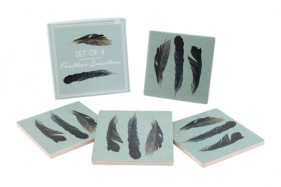 Box Of 4 Feather Coasters