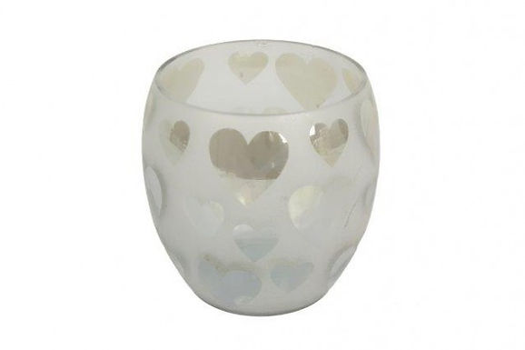 Candle Holder Glass Oval White Heart Frosted Clear