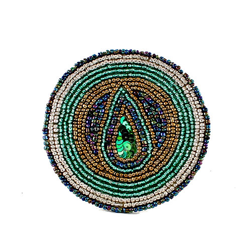 Beaded Peacock Coaster