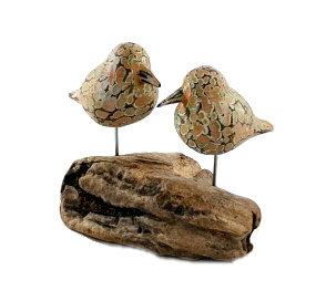 Wooden Birds on Log