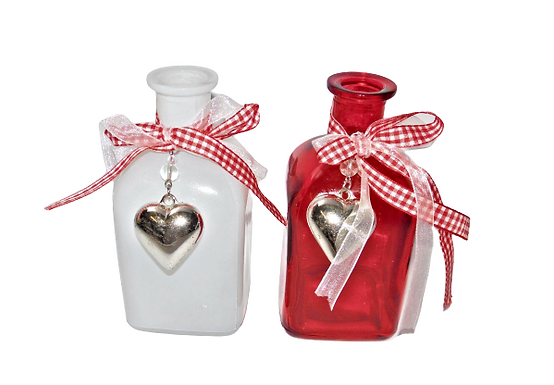 White or Red Glass Bottle