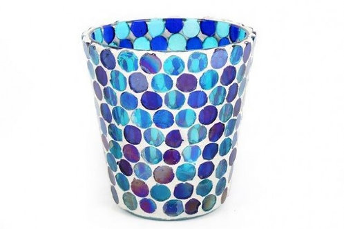 Candle Holder Glass Mosaic Cup Round Blue Purple