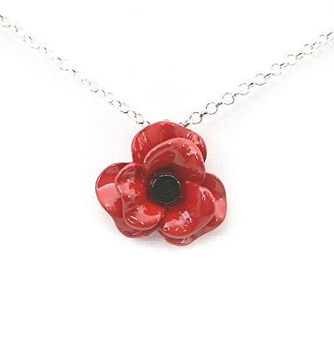 Ceramic Look Poppy Necklace