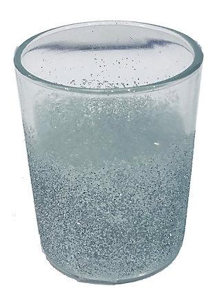 Candle Holder Glass Cup Clear Blue Glitter 2 Asst