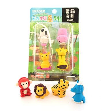 4 Animal Erasers