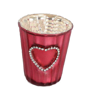 Candle Holder Glass Pot Red Diamante Heart Ribbed