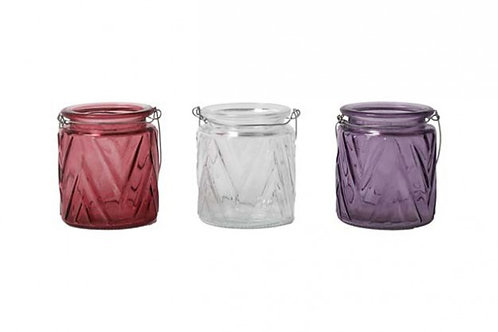 Candle Holder Glass Pot Cup Hanging Clear Pink Purple