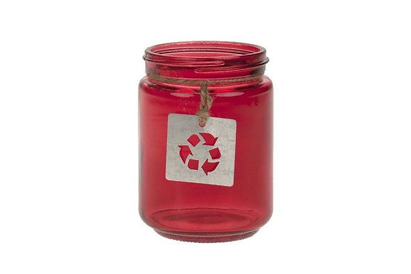 Candle Holder Glass Jar Recycled Red