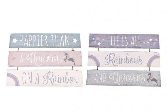 Unicorn Rainbow Triple Plaque