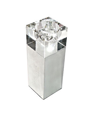 Candle Holder Tall Square Metal Acrylic White Clear Large