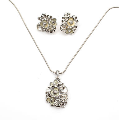 Enamel Flowers Necklace And Clip On Earrings