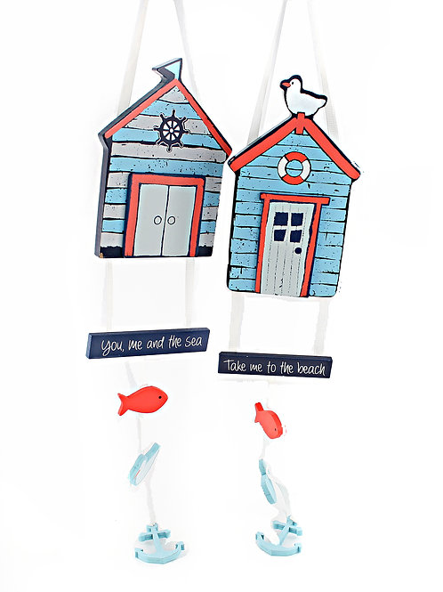 Beach Hut Hanging Plaque